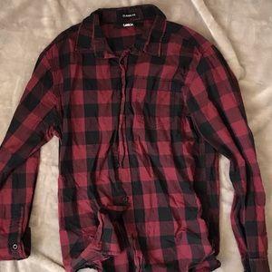 Maroon & Black Plaid Flannel Shirt